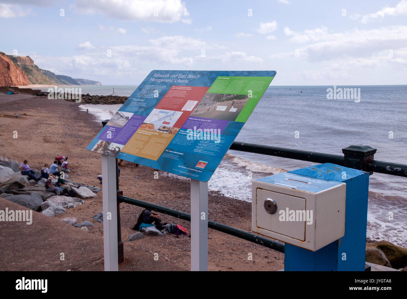 Sidmouth, 19th Aug 17 A council scheme to raise funds for beach management in Sidmouth, Devon has backfired. The collection box and information board that cost £1,400 has collected only £100 in the four months following it being fitted to the seafront location in April. East Devon District Council needs to find £3.3 miillion to reach its beach management target. Credit: Photo Central / Alamy Live News - Stock Image