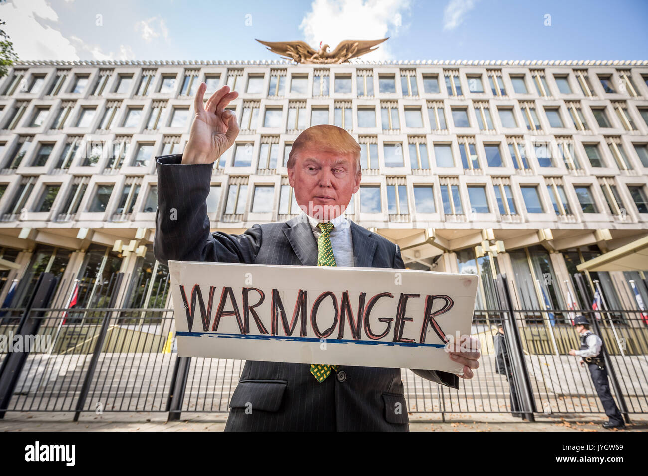 London, UK. 19th Aug, 2017. Anti-Trump protest 'Stand Up to Trump - No To Racism, No to War' outside U.S. Embassy Credit: Guy Corbishley/Alamy Live News - Stock Image