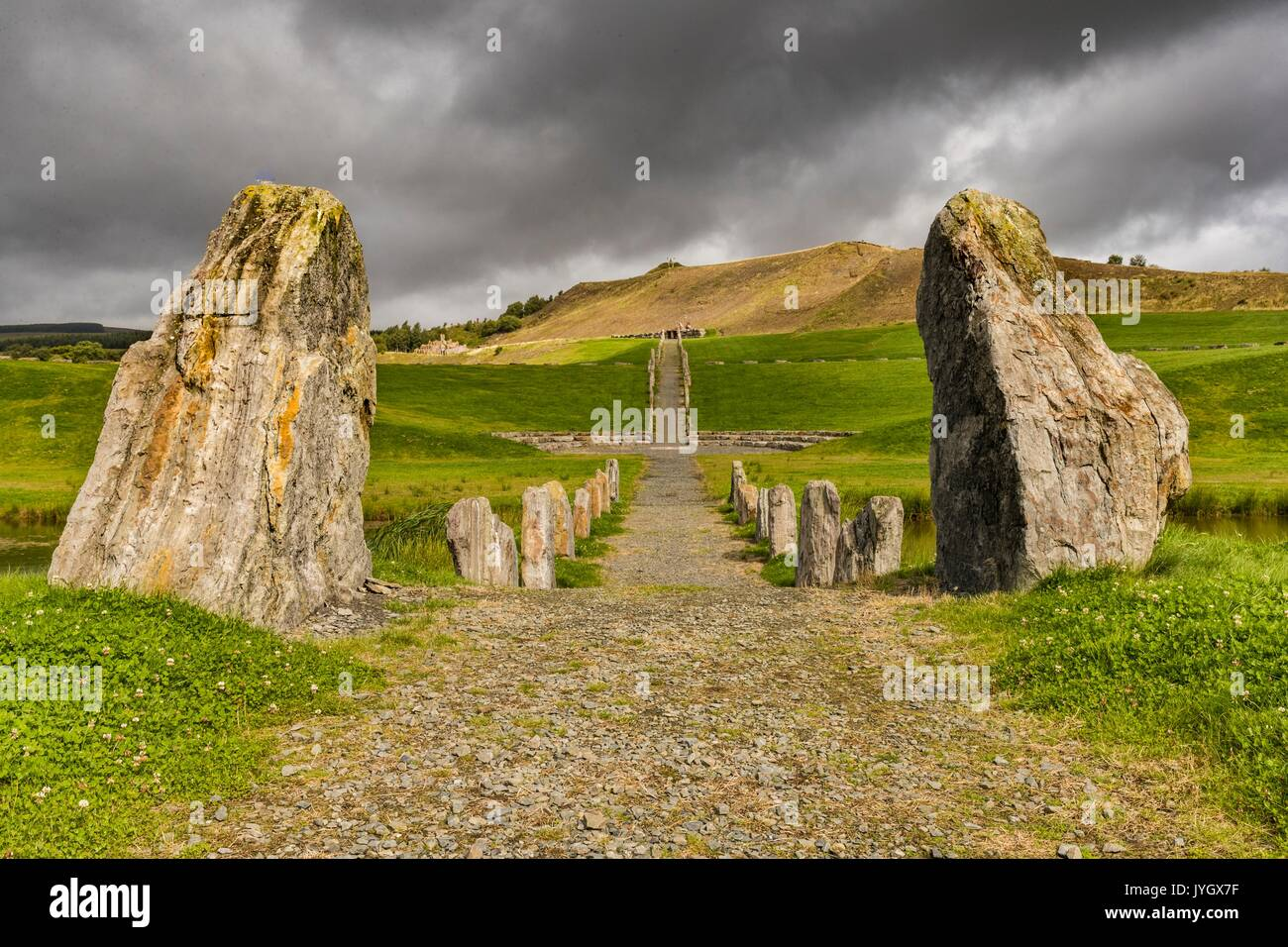 in Dumfries & Galloway, UK. 19th August, 2017. Changeable weather over the Crawick Multiverse Artland near Sanquhar in Dumfries & Galloway. This world-class landscape art design links the themes of space, astronomy and cosmology and is designed by globally-renowned landscape artist Charles Jencks. Credit: Rich Dyson/Alamy Live News - Stock Image