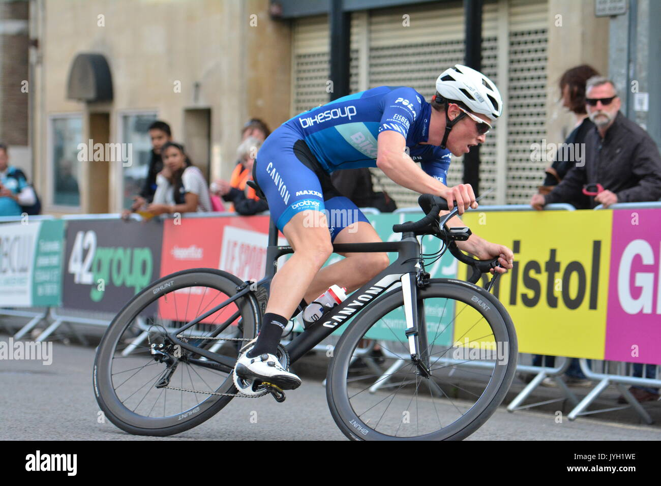 Bristol, UK. 19th Aug, 2017. Caution: EDITORIAL USE ONLY. Bristol GP cycle race around the streets of Bristol. Images show the final race of the day, Men's Elite Final. The teams lay everything on the line to take the Bristol Grand Prix Win. 1st Rory Townsend, 2nd Fred Scheska Exeter Uni, 3rd Josh Price. Credit: Robert Timoney/Alamy Live News - Stock Image