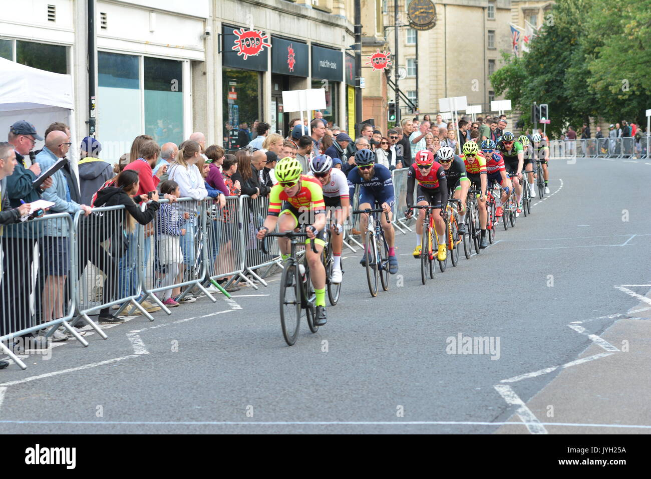 Bristol, UK. 19th Aug, 2017. Caution: EDITORIAL USE ONLY. Bristol GP cycle race around the streets of Bristol. Images Stock Photo
