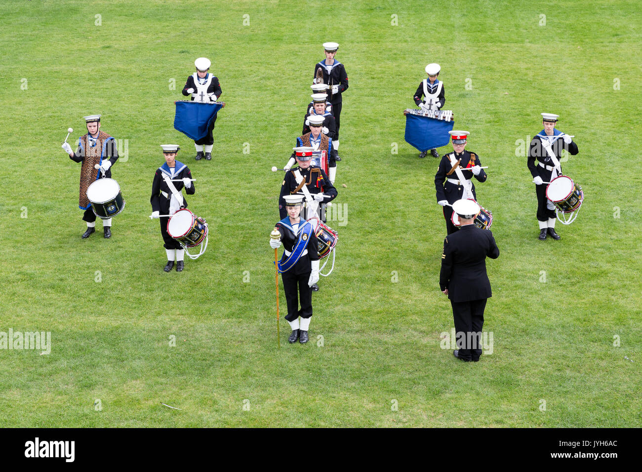 London, UK. 19th August 2017. Sea Cadets take part in the Sea Cadets National Band Competition held in the Tower of London, performing their precision routines in the moat of the Tower of London. Sea Cadets are the UK's largest maritime youth charity.Sea Cadets take part in the Sea Cadets National Band Competition held in the Tower of London, performing their precision routines in the moat of the Tower of London. Sea Cadets are the UK's largest maritime youth charity. Credit: Vickie Flores/Alamy Live News - Stock Image