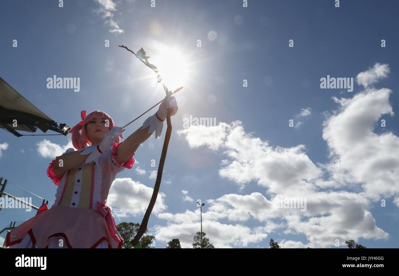 Sydney. 20th Aug, 2017. A cosplayer performs at the 2017 SMASH Sydney Manga and Anime Show at Rosehill Gardens in Sydney, Aug. 20, 2017. Credit: Bai Xuefei/Xinhua/Alamy Live News - Stock Image