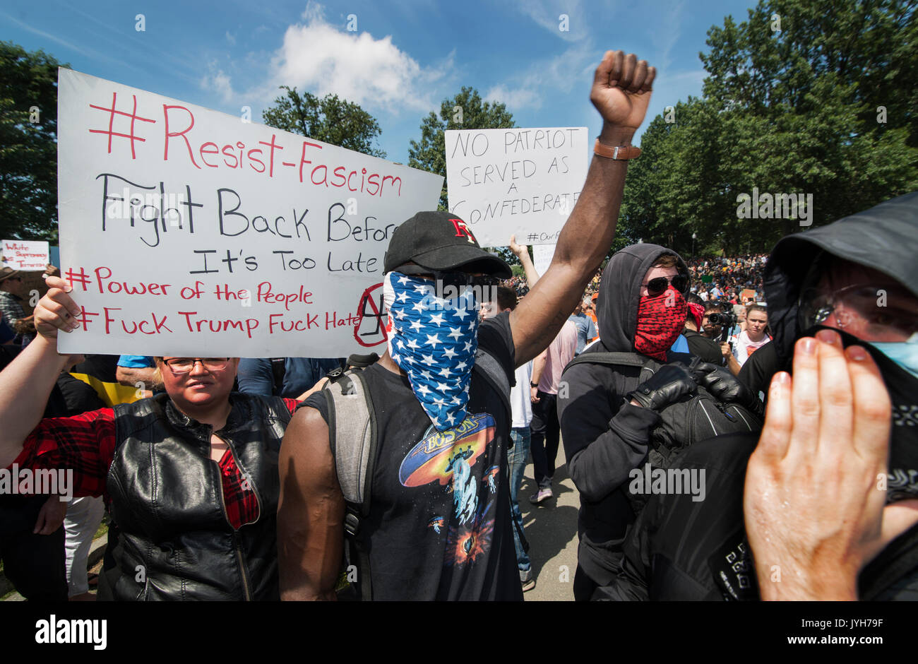 Boston, USA. 19th Aug, 2017. Boston police estimated that 40,000 counterdemonstrators gathered at the center of Stock Photo
