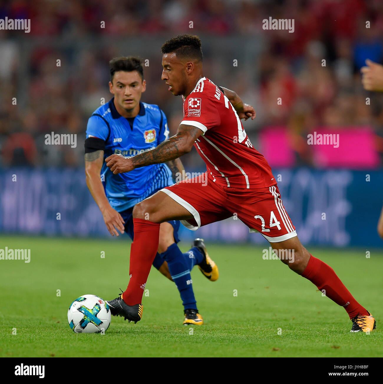 18.08.2017,  Fussball 1.Liga 2017/2018, 1.Spieltag, FC Bayern München - Bayer Leverkusen, in der Allianz-Arena München, Corentin Tolisso (FC Bayern München) am Ball. Photo: Cronos/MIS - Stock Image