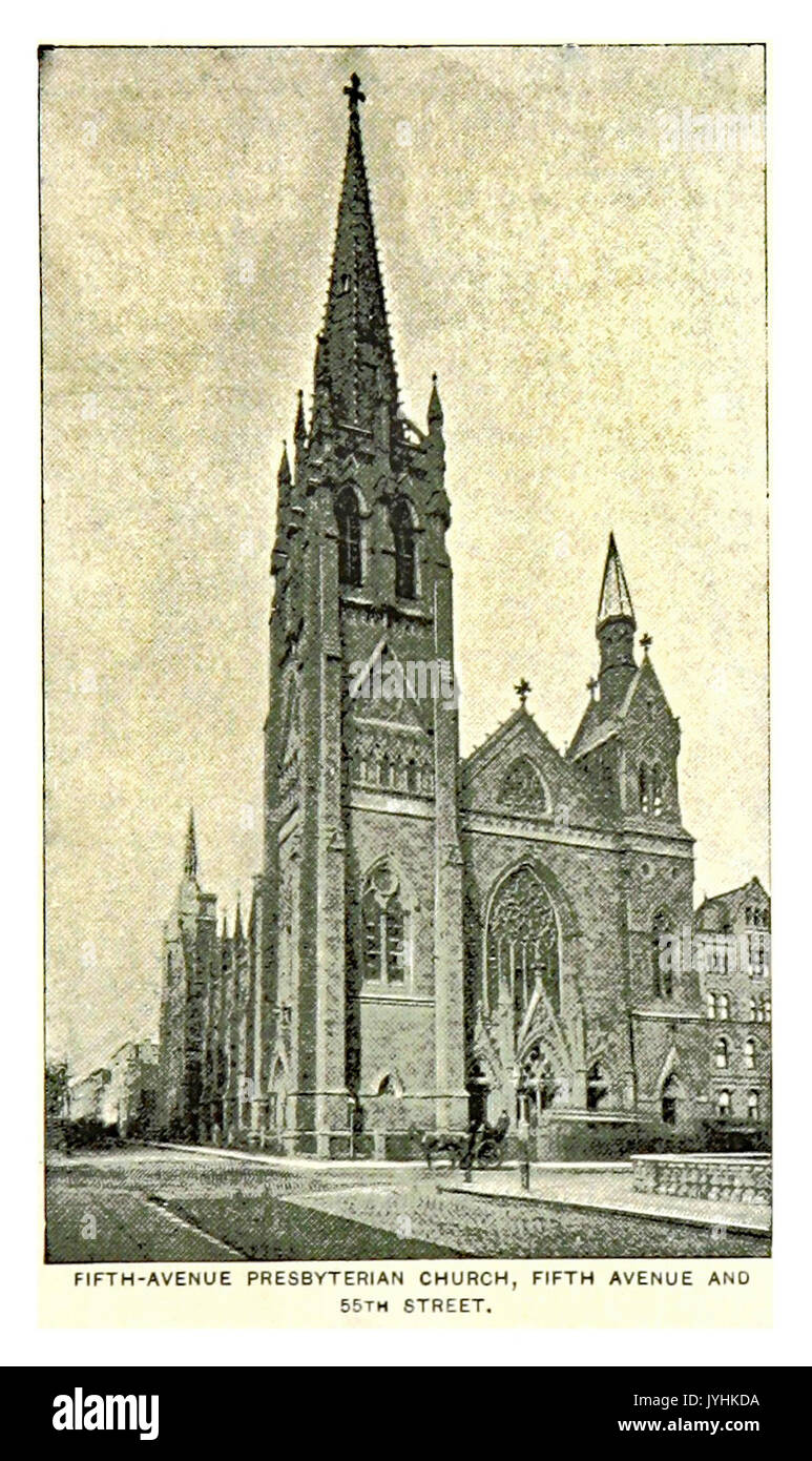 373 FIFTH AVENUE PRESBYTERIAN CHURCH, FIFTH AVENUE AND 55TH STREET - Stock Image