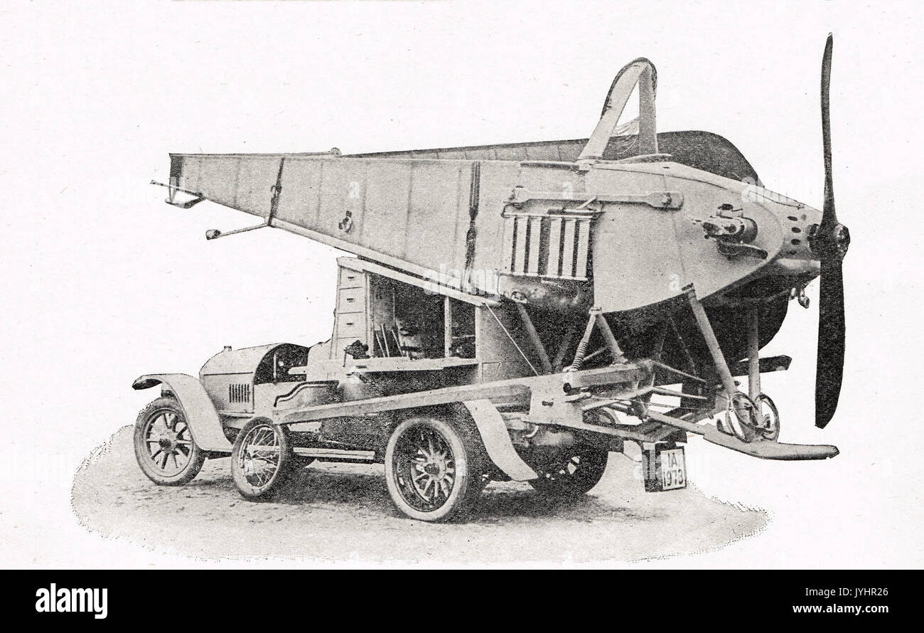 Car designed to carry aeroplanes, WW1 - Stock Image