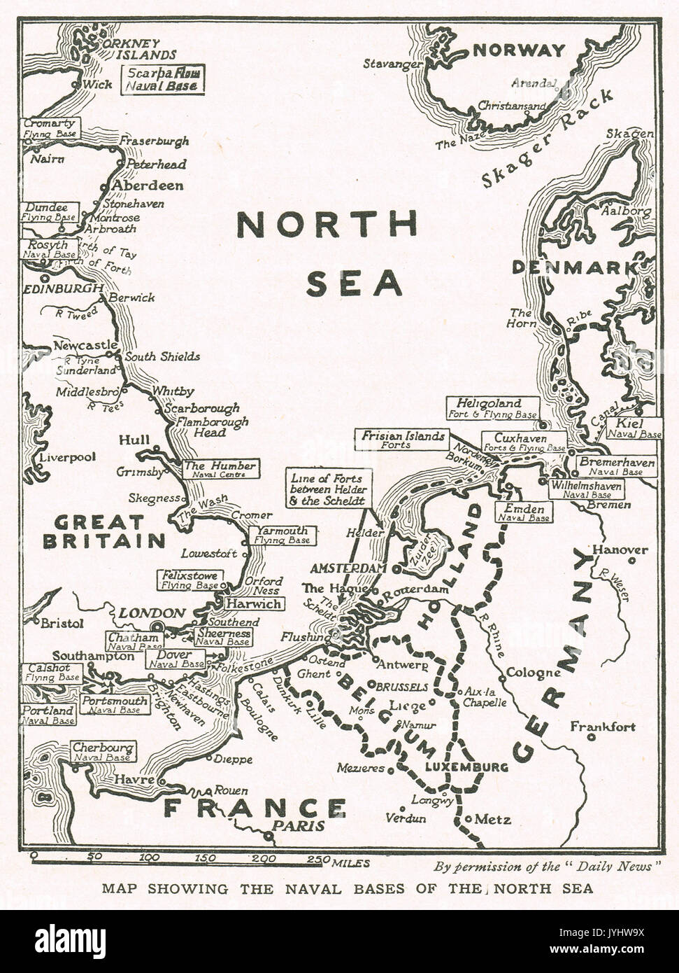 Map showing North Sea naval bases at the start of WW1 - Stock Image