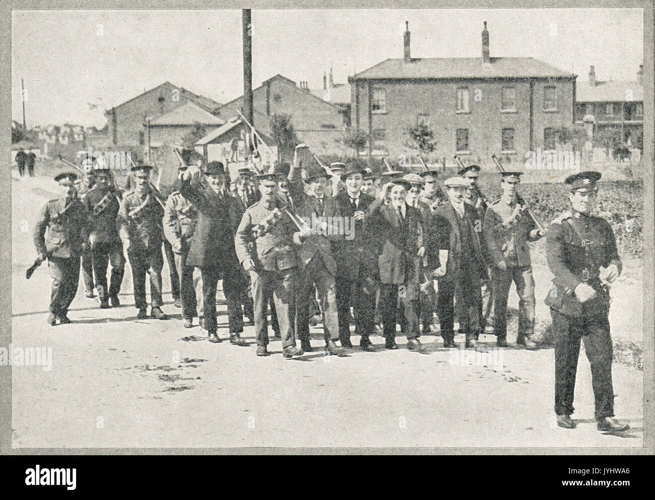 Enemy Aliens being rounded up in Scarborough, WW1 - Stock Image