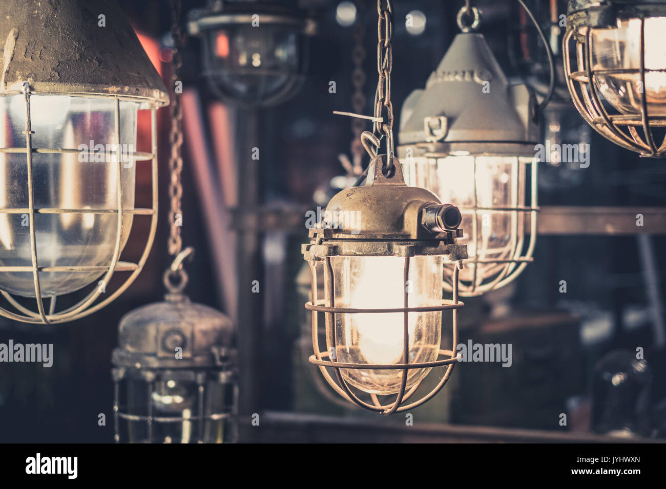 industrial lamps, hanging lights , factory light bulbs Stock Photo