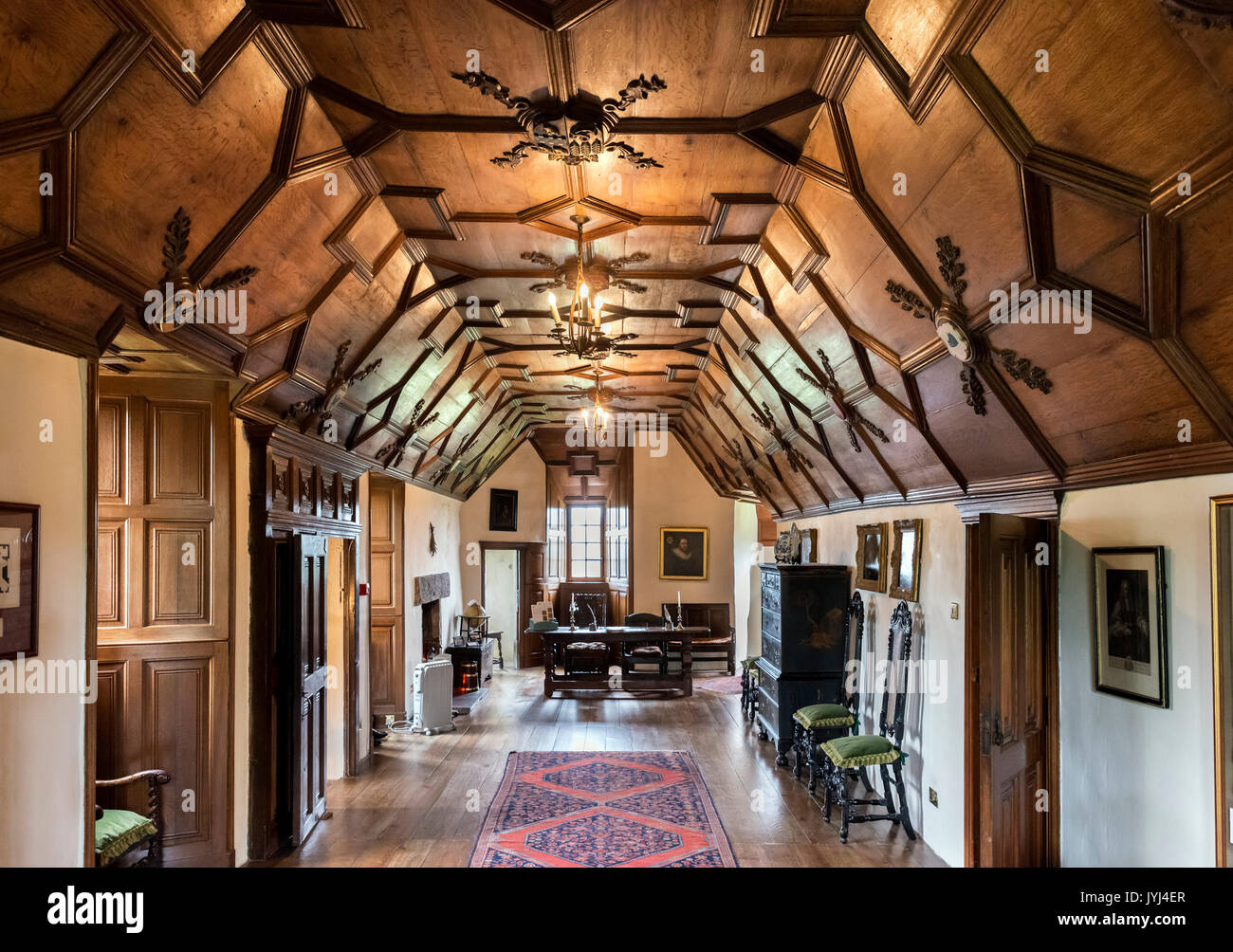 The Long Gallery with its 17th century oak panelled ceiling, Crathes Castle, Banchory, Aberdeenshire, Scotland, - Stock Image