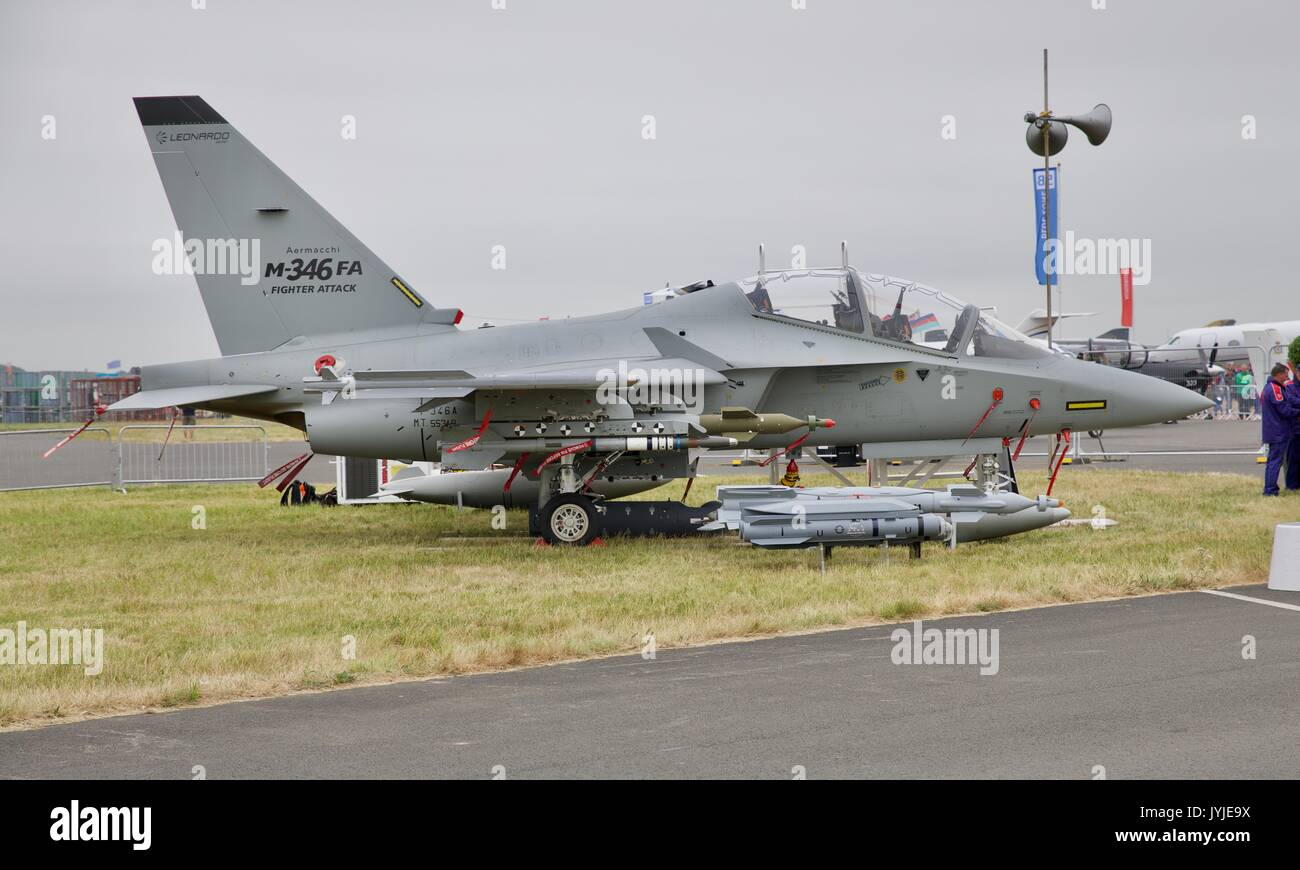 Alenia Aermacchi M-346 Master fighter jet on static display at the 2017 Royal International Air Tattoo - Stock Image