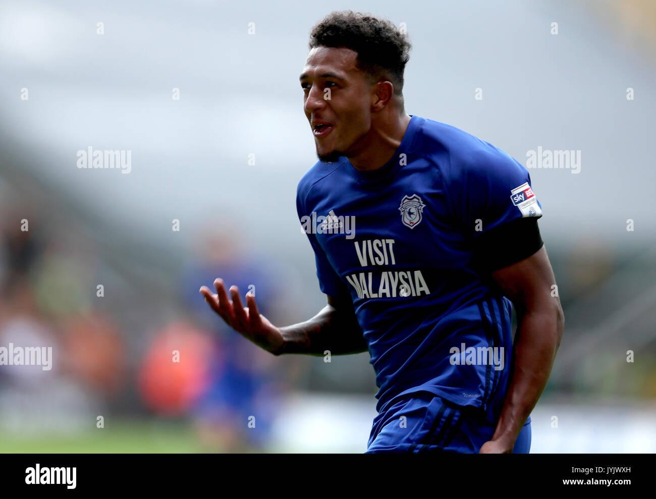 Cardiff City s Nathaniel Mendez Laing celebrates scoring his side s