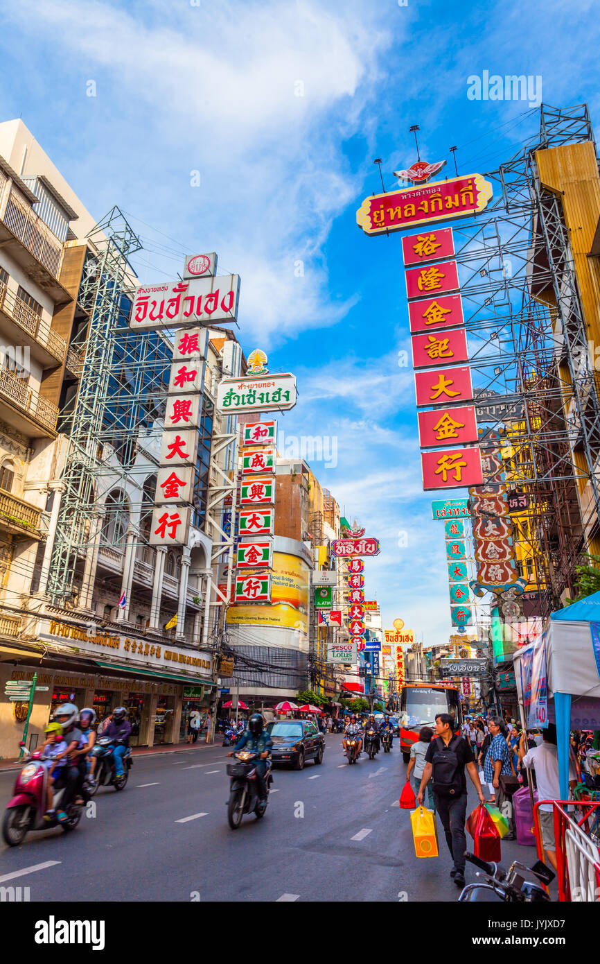 Chaina town, Bangkok, Thailand - August 9, 2017: traffic on Yaowarat road. Chinatown with notable Chinese buildings, Stock Photo