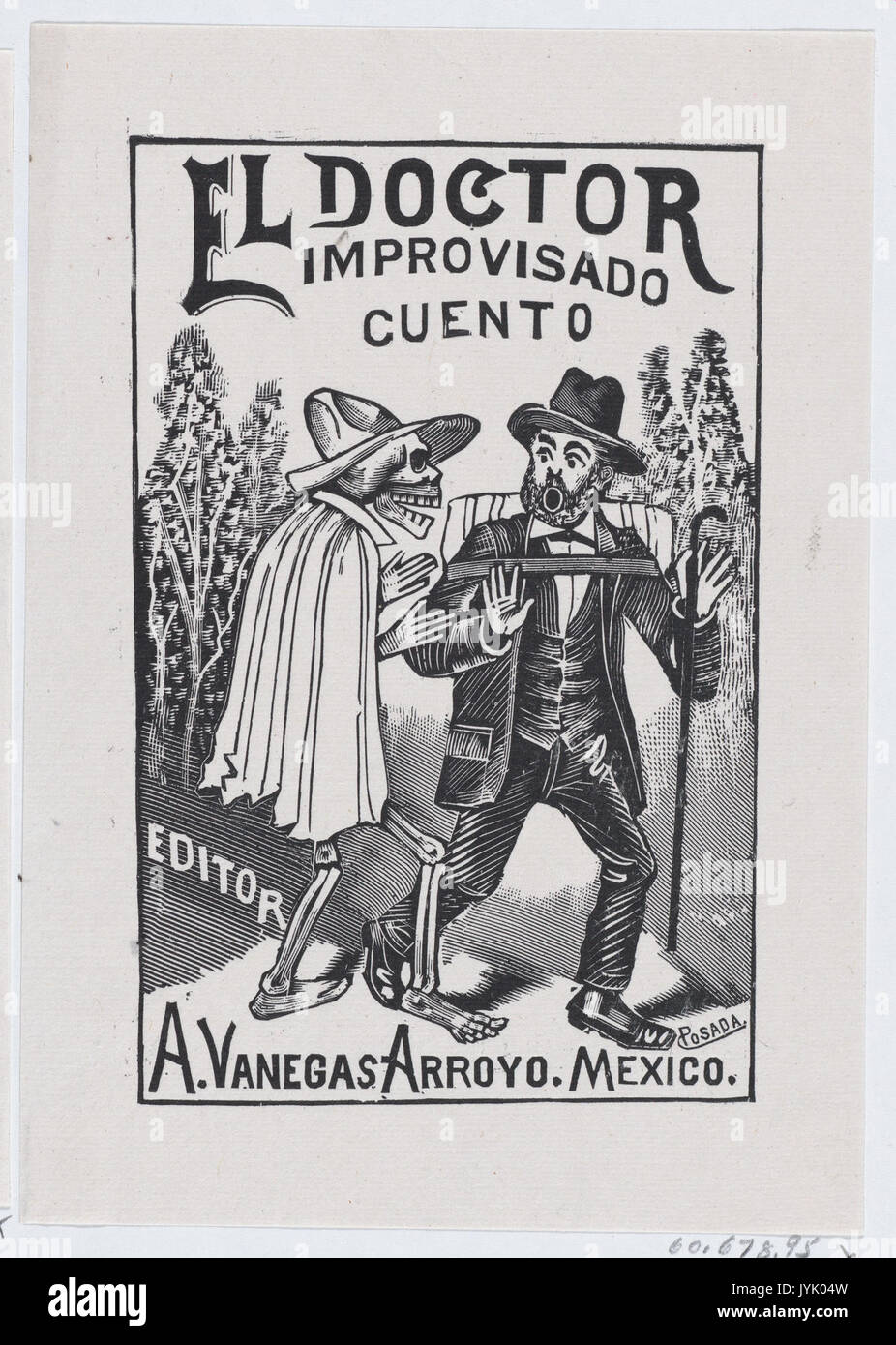 A Skeleton Wearing Cape Speaking To Frightened Man With Cane And Backpack