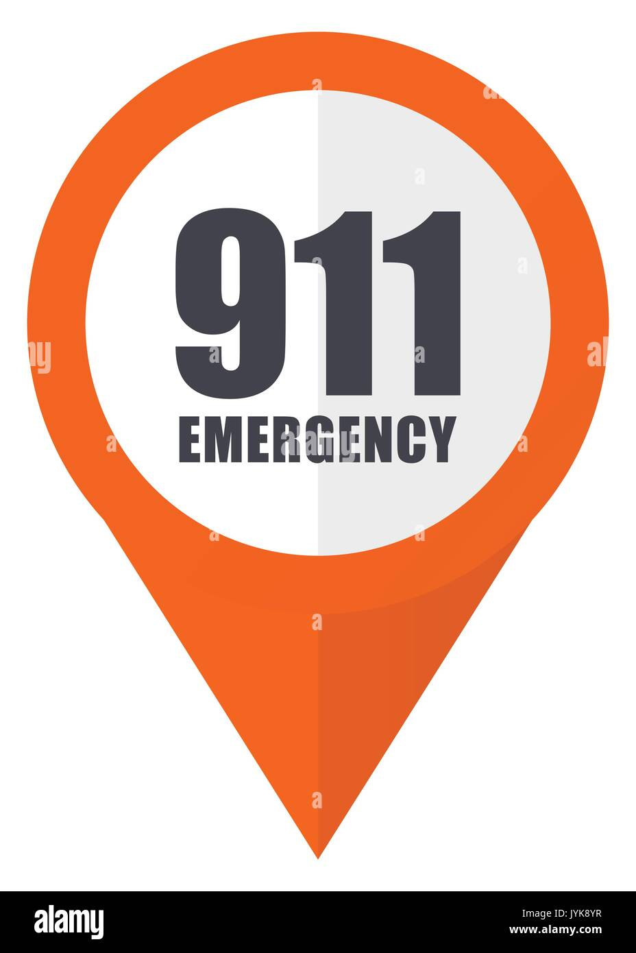 Number emergency 911 orange pointer vector icon in eps 10 isolated on white background. - Stock Image