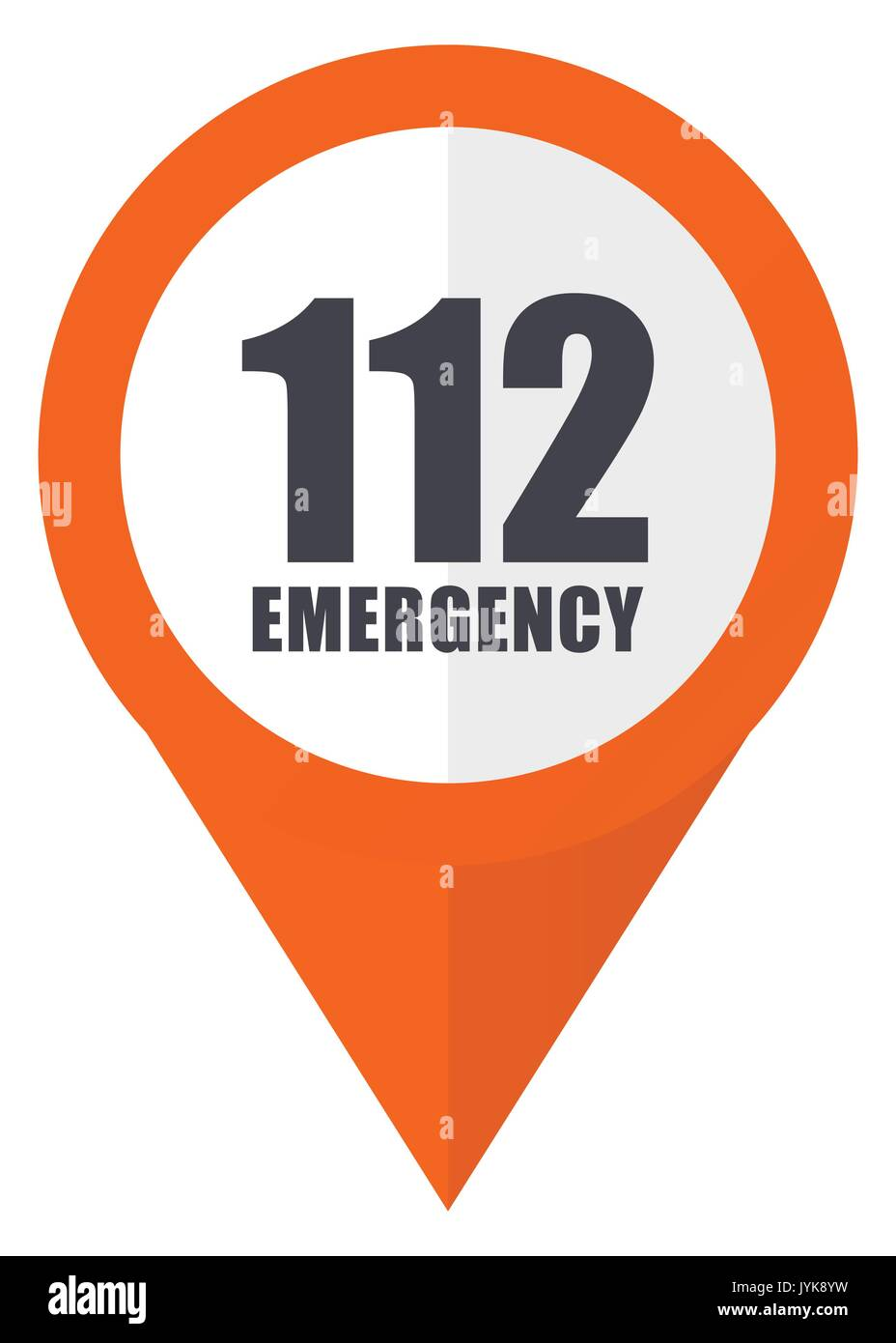 Number emergency 112 orange pointer vector icon in eps 10 isolated on white background. - Stock Image