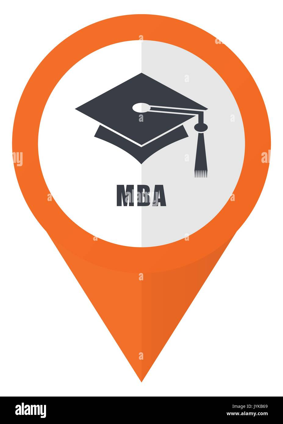 693bfe12daf Mba orange pointer vector icon in eps 10 isolated on white background. -  Stock Image