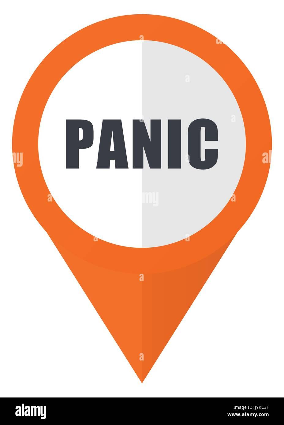 Panic orange pointer vector icon in eps 10 isolated on white background. - Stock Image