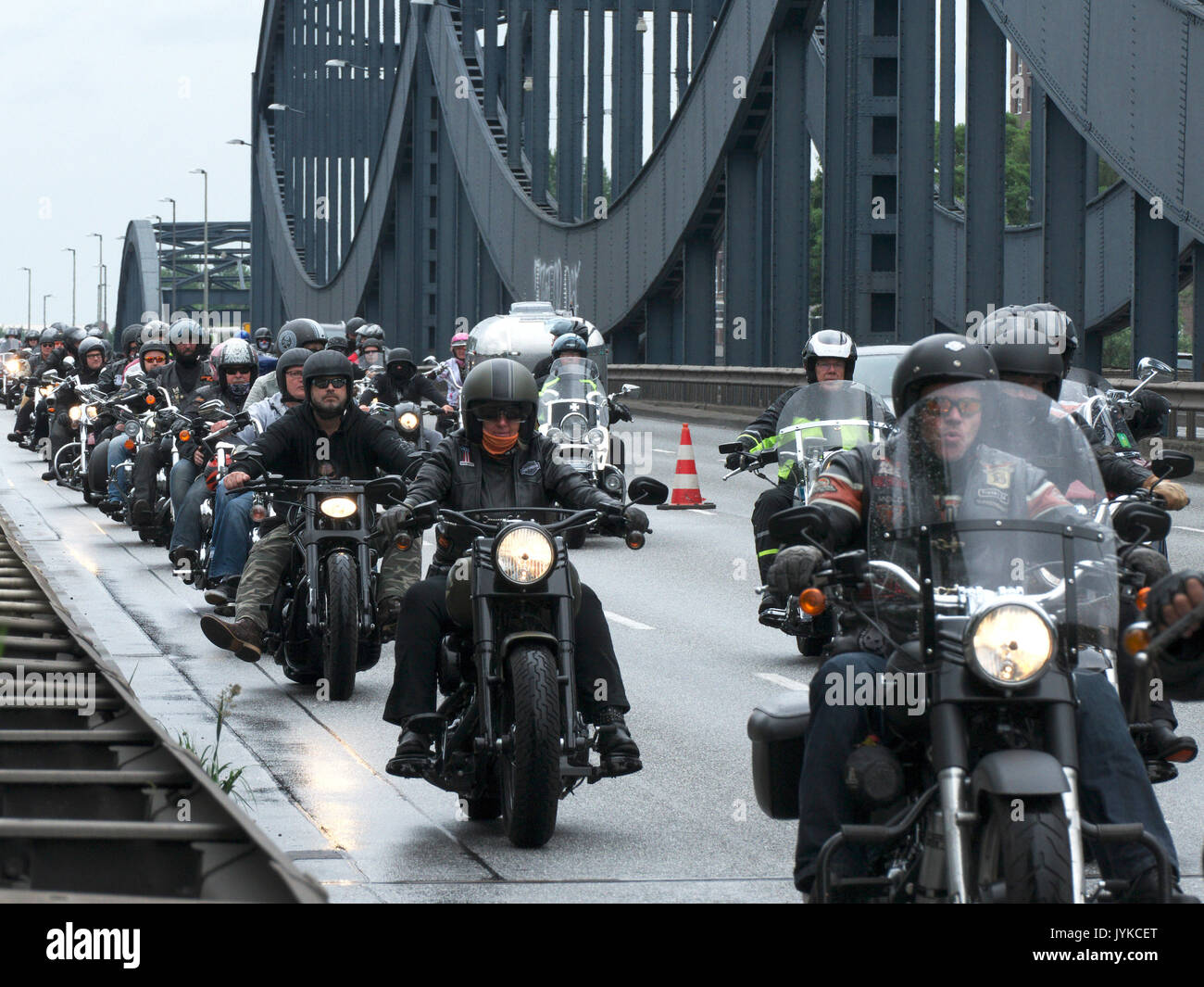 Hamburg Harley Days Biker-City-Event big motorbike motorbiker parade Germany Stock Photo