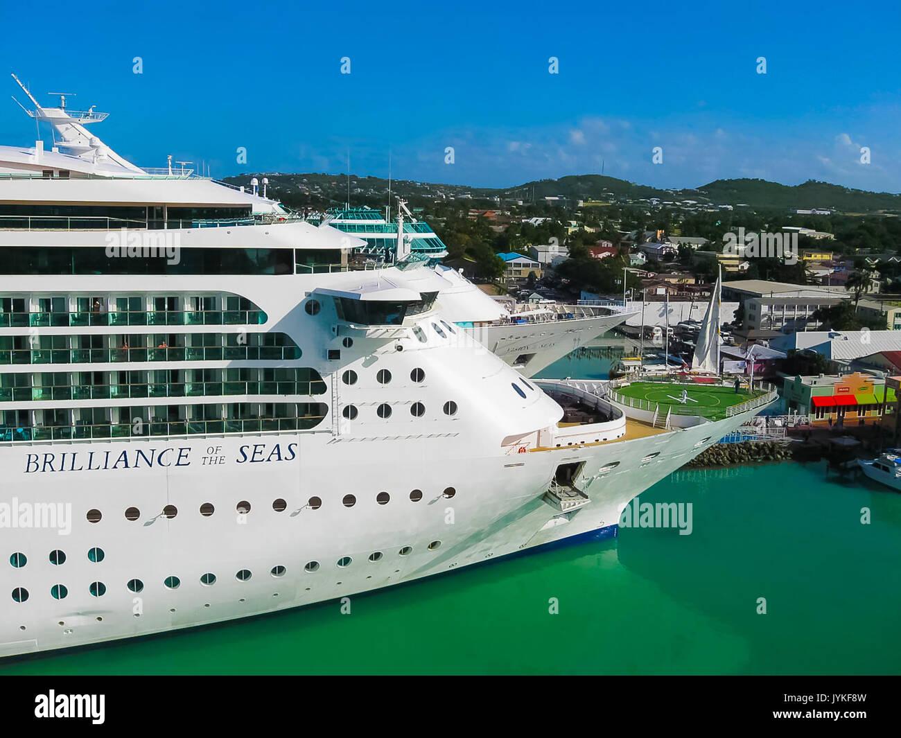 St. John's, Antigua and Barbuda - February 07, 2013: Cruise ship Brilliance of the Seas Royal Caribbean International Stock Photo