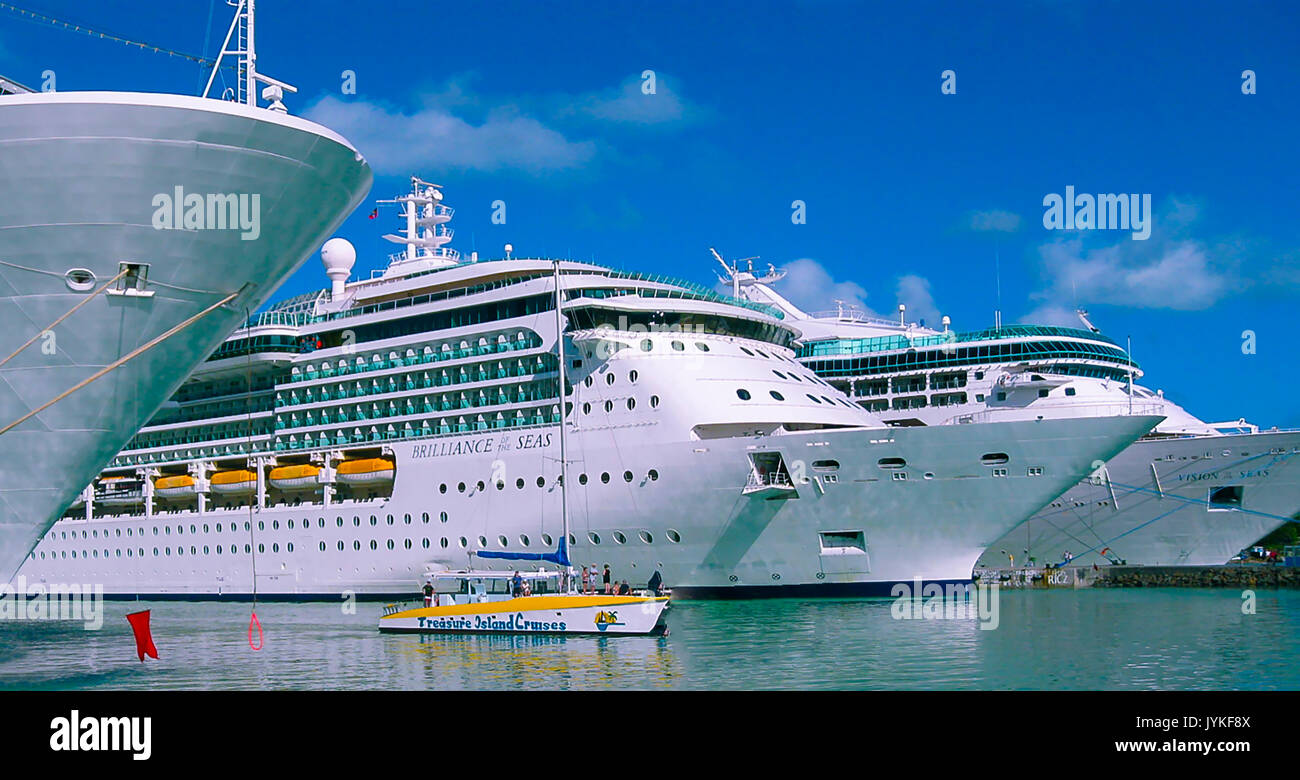 St. John's, Antigua and Barbuda - February 07, 2013: Cruise ship Brilliance of the Seas Royal Caribbean International in port - Stock Image