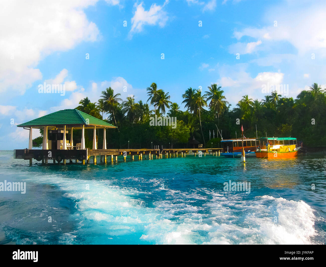 Embudu Village Island, Maledives, Indian Ocean - Stock Image