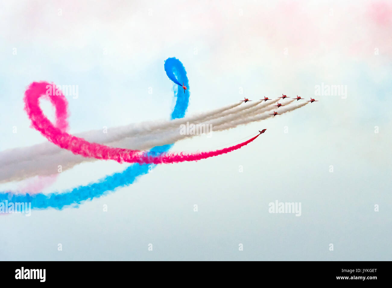 Red Arrows Aerial Display over Fowey and Polruan Estuary, Cornwall, UK Editorial 17/08/2017. For the first in nearly Stock Photo