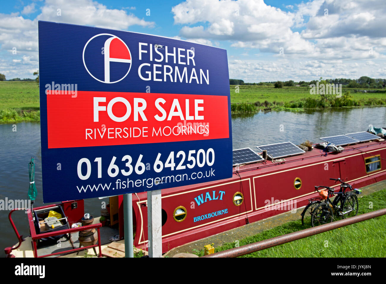 Sign, riverside moorings for sale, Ely, Cambridgeshire, England UK - Stock Image