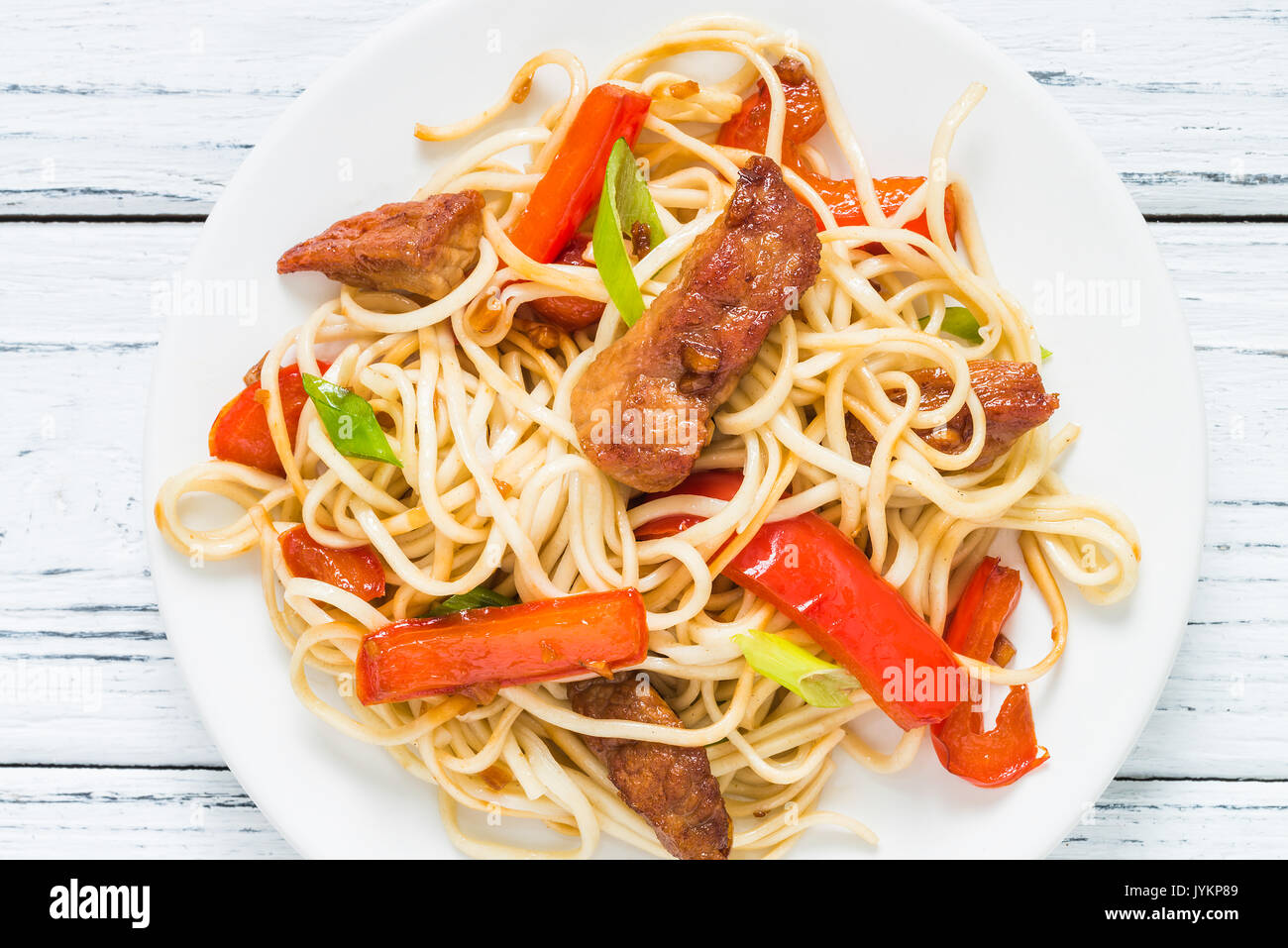 Szechuan stir fried spicy pork with red pepper and green