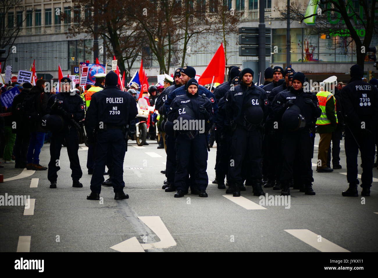 2017 demonstration Protest against Munich Security Conference Germany - Stock Image