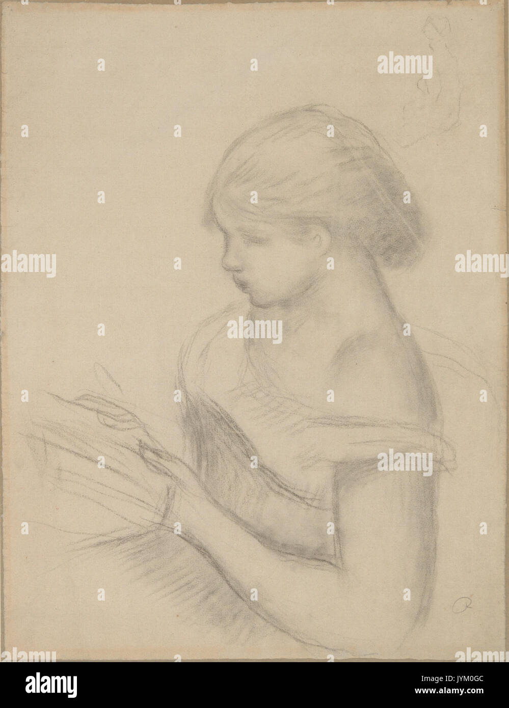 A girl reading with a sketch of seated woman met dp216720