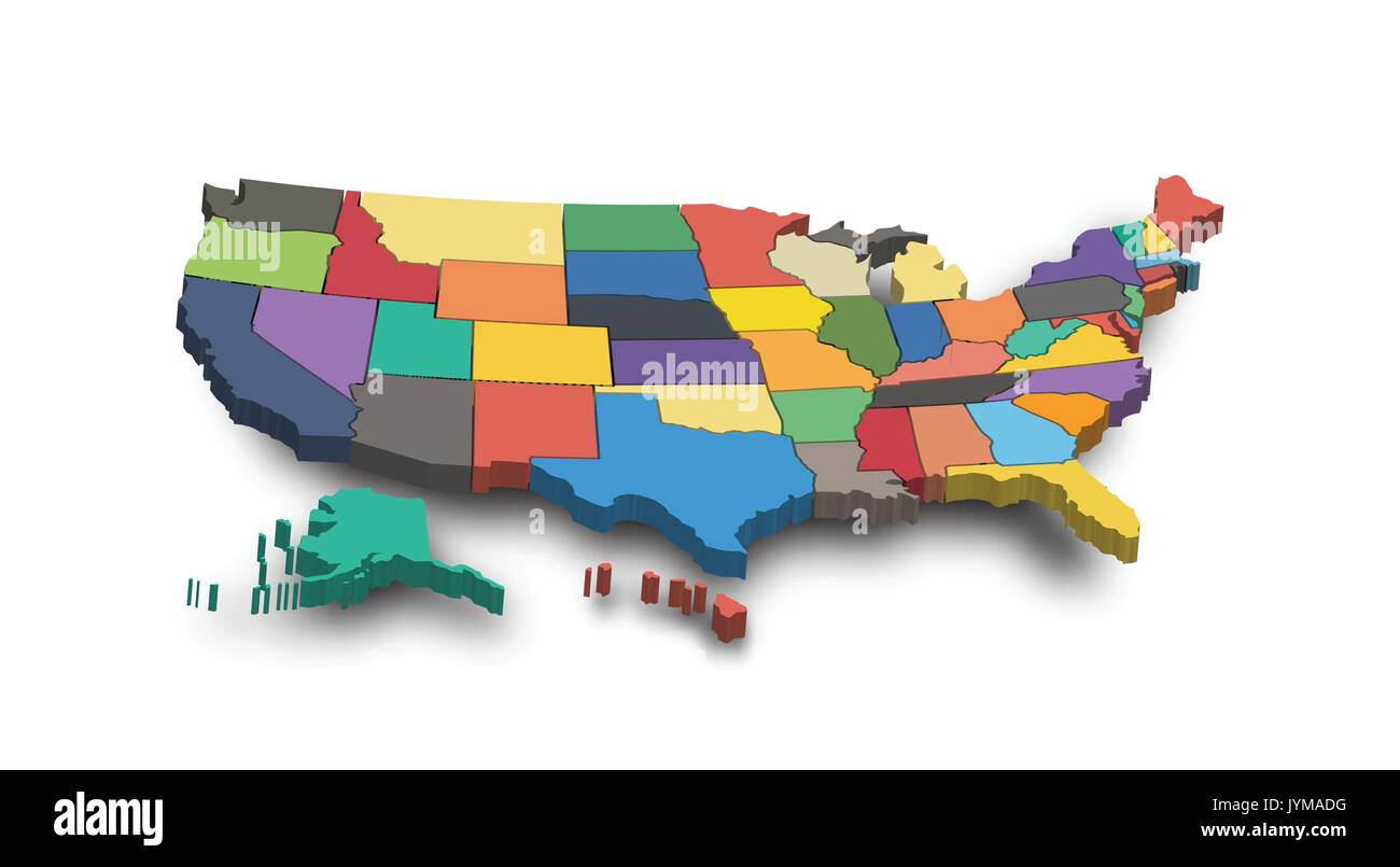 3D Map of United state of america . - Stock Image