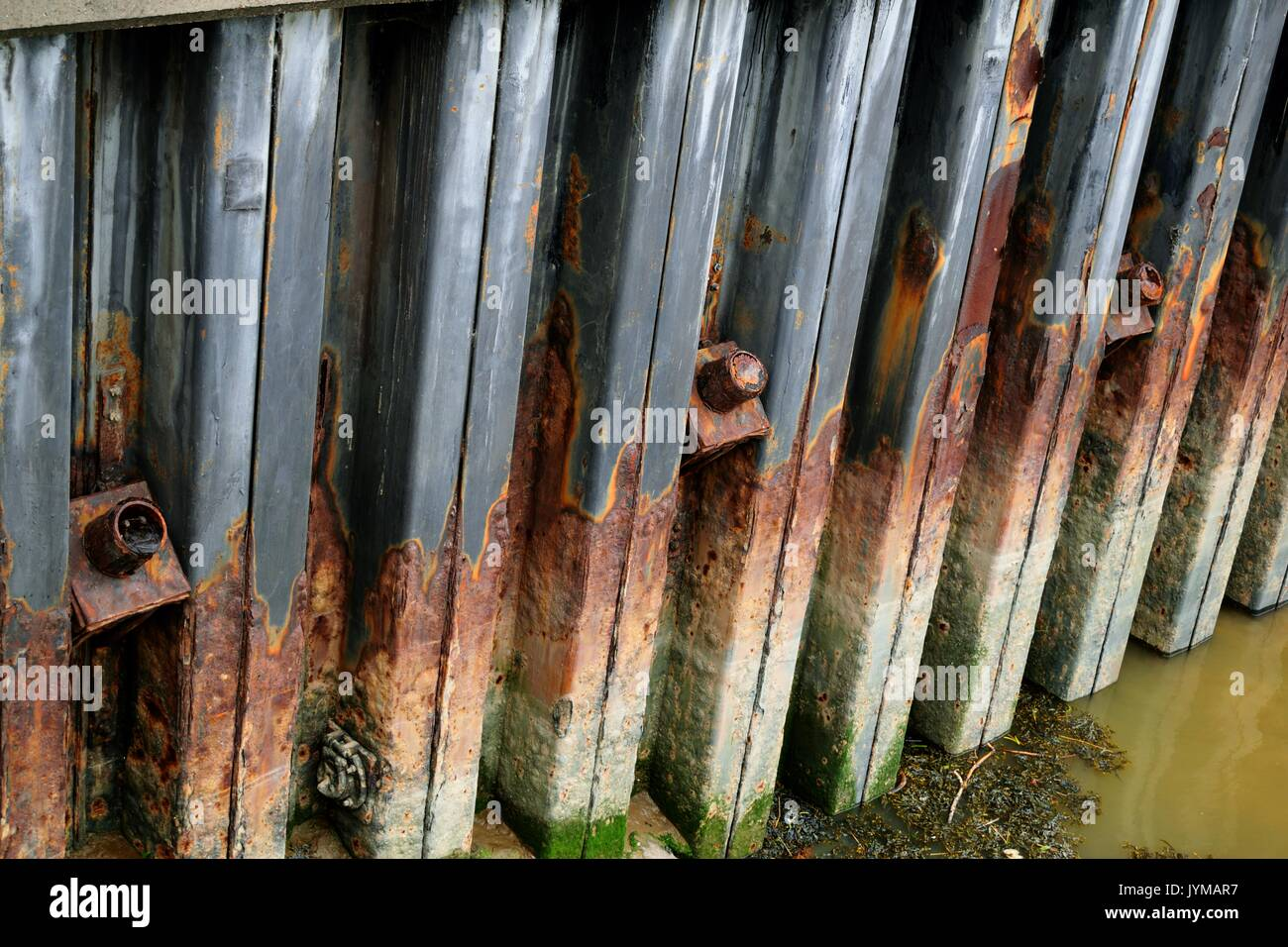 Sheet pile river wall with structural anchors showing anchor heads - Stock Image