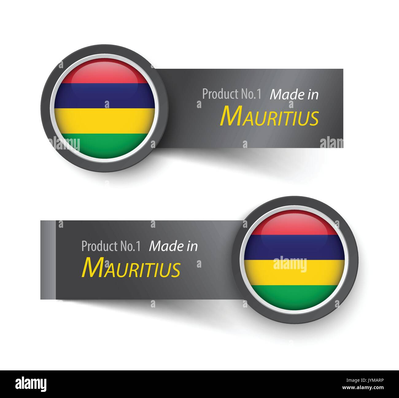 Flag icon and label with text made in Mauritius . Stock Vector
