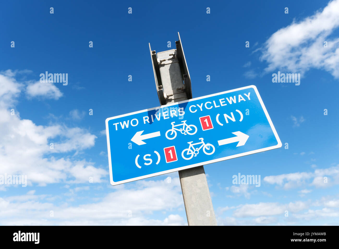 Two rivers (Tyne and Wear) cycleway sign, Whitburn, north east England, UK - Stock Image