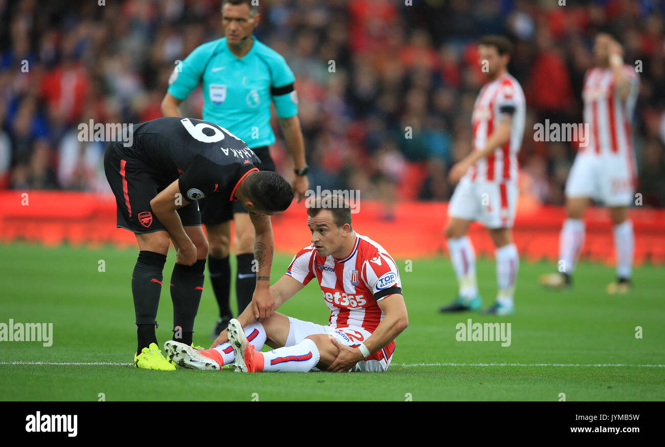 Stoke City S Xherdan Shaqiri Speaks With Arsenal S Granit Xhaka Stock Photo Alamy