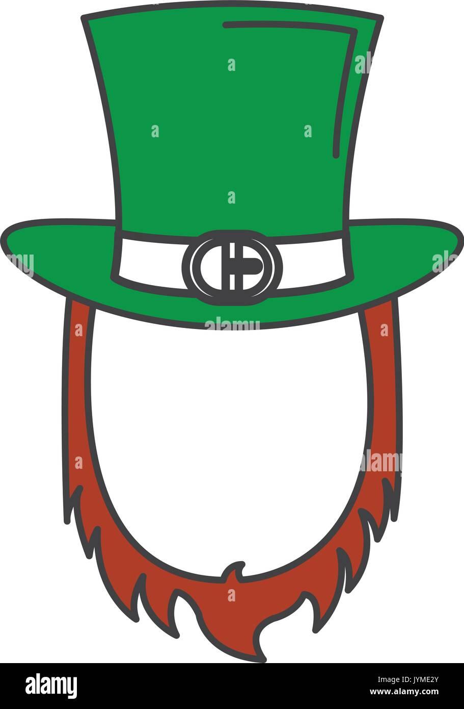9b1bbfa84d802 Irish elf hat and beard saint patrick celebration vector illustration design
