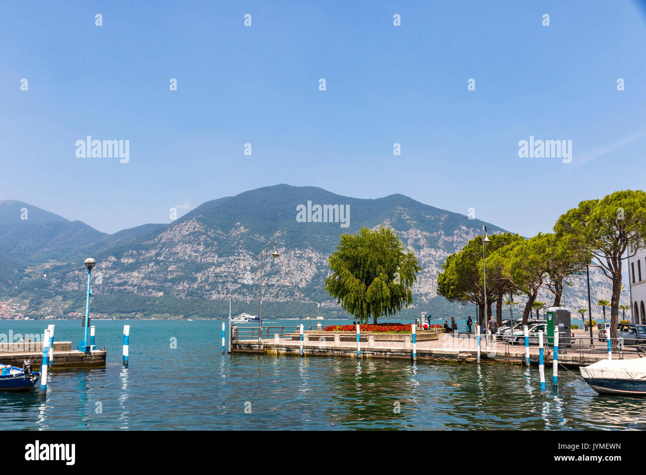 Iseo lake, Lombardy, Italy. Famous Italian resort. Lake Iseo (or Lago d'Iseo) is the 4th largest lake in Lombardy - Stock Image