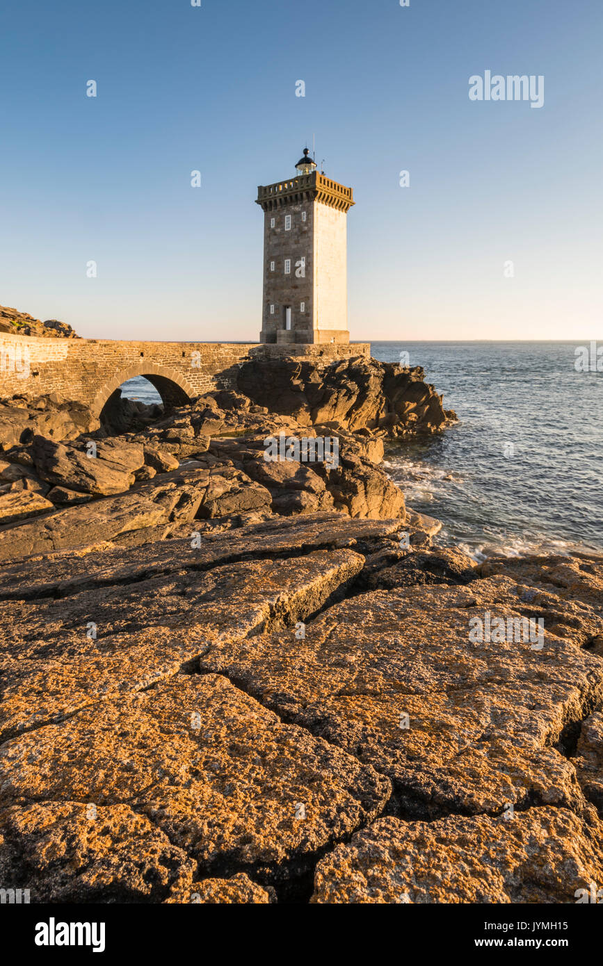 Kermorvan lighthouse. Le Conquet, Finistère, Brittany, France. Stock Photo