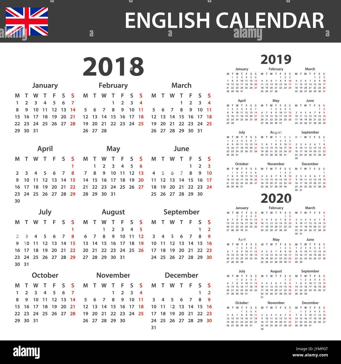 English Calendar 2020 English Calendar for 2018, 2019 and 2020. Scheduler, agenda or