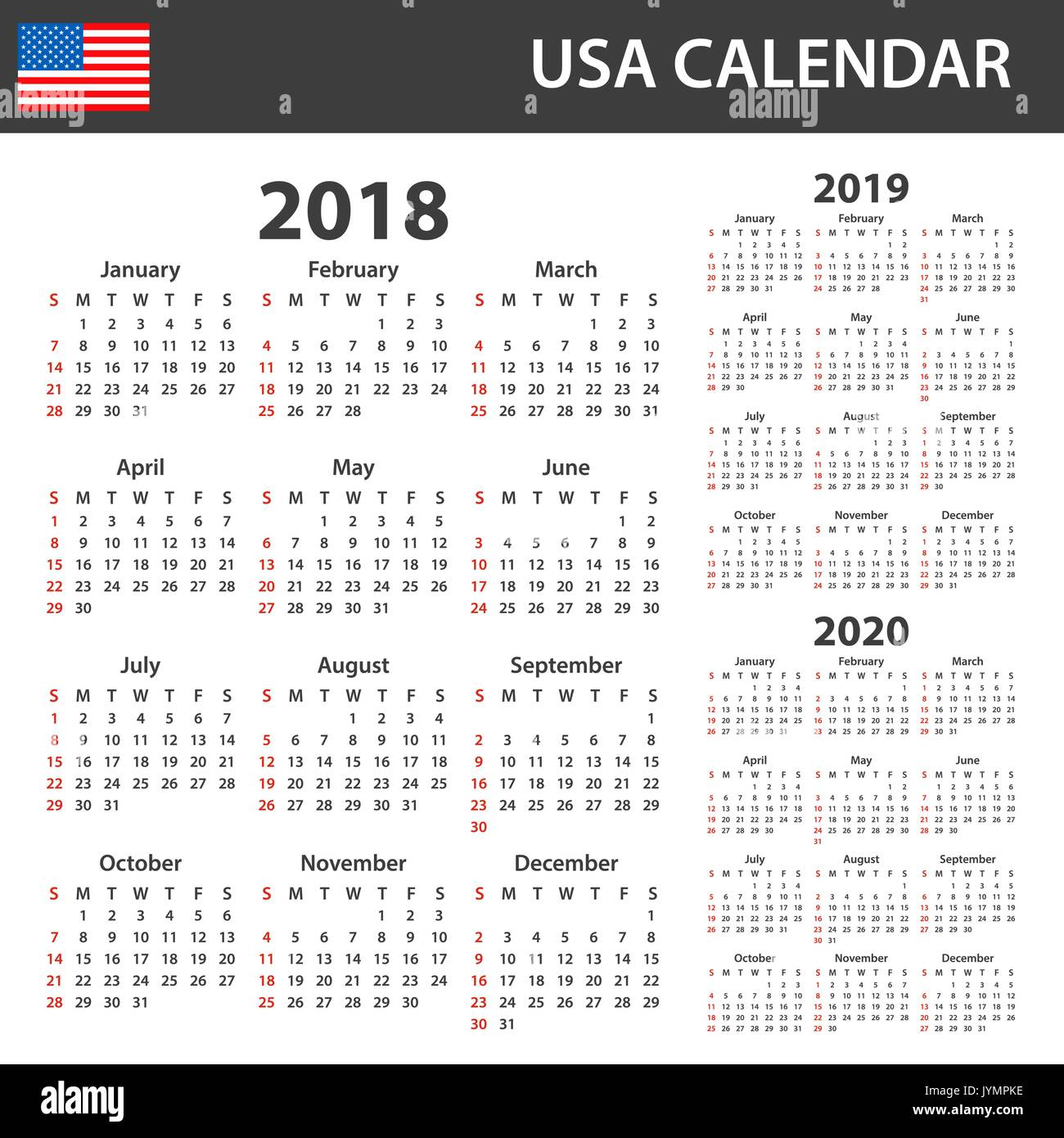 Usa Calendar 2019 USA Calendar for 2018, 2019 and 2020. Scheduler, agenda or diary