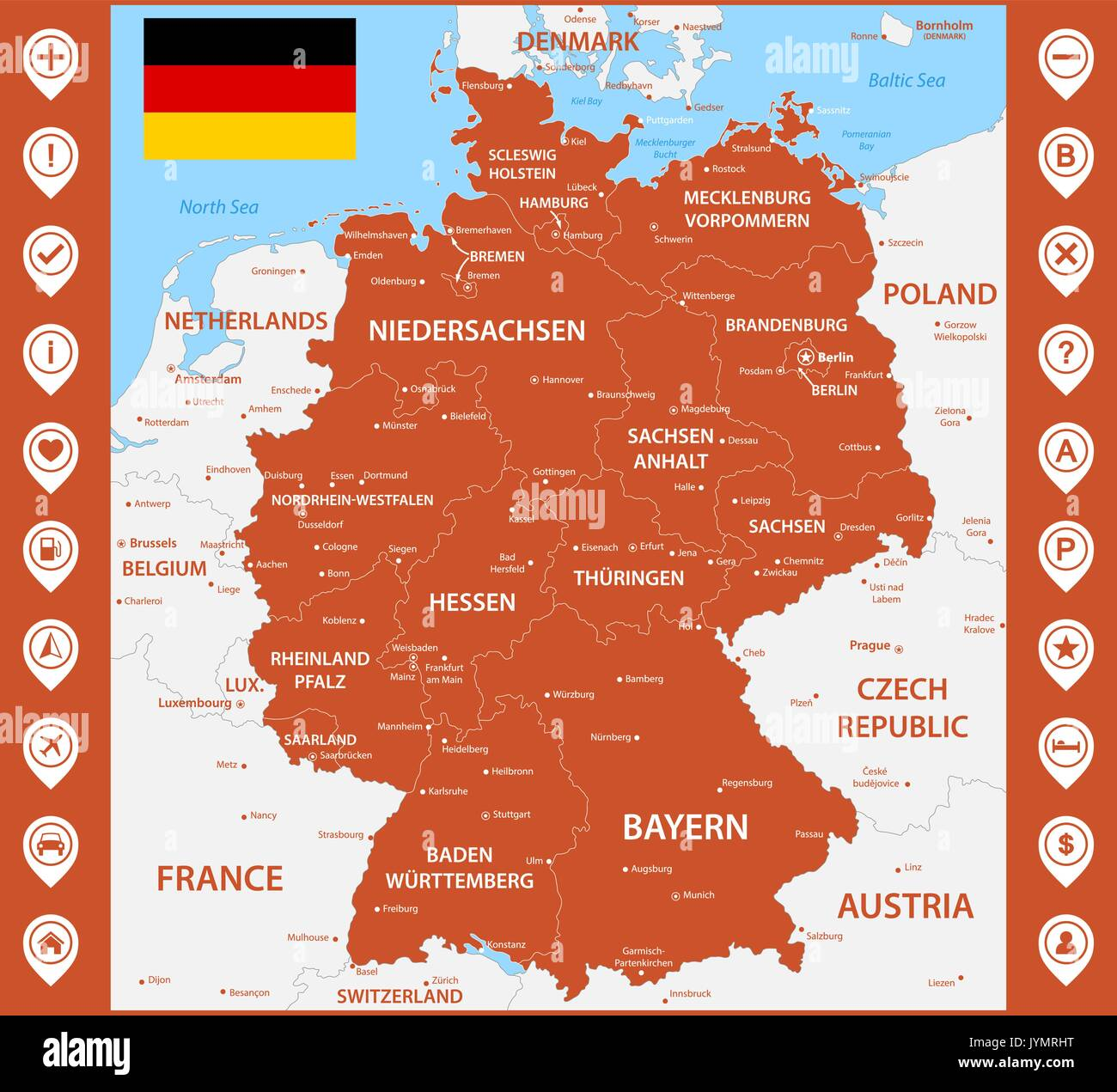 the detailed map of the germany with regions or states and cities capitals with map pins or pointers place location markers or signs