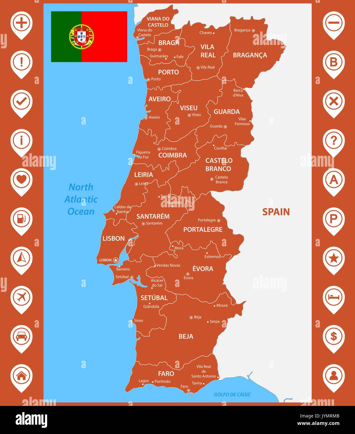 the detailed map of portugal with regions or states and cities
