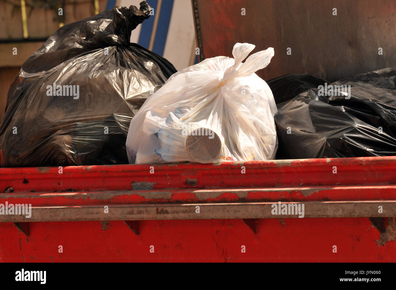some rubbish recycling card and glass bottles in bins ready for collections overflowing dustbins full of garbage Stock Photo