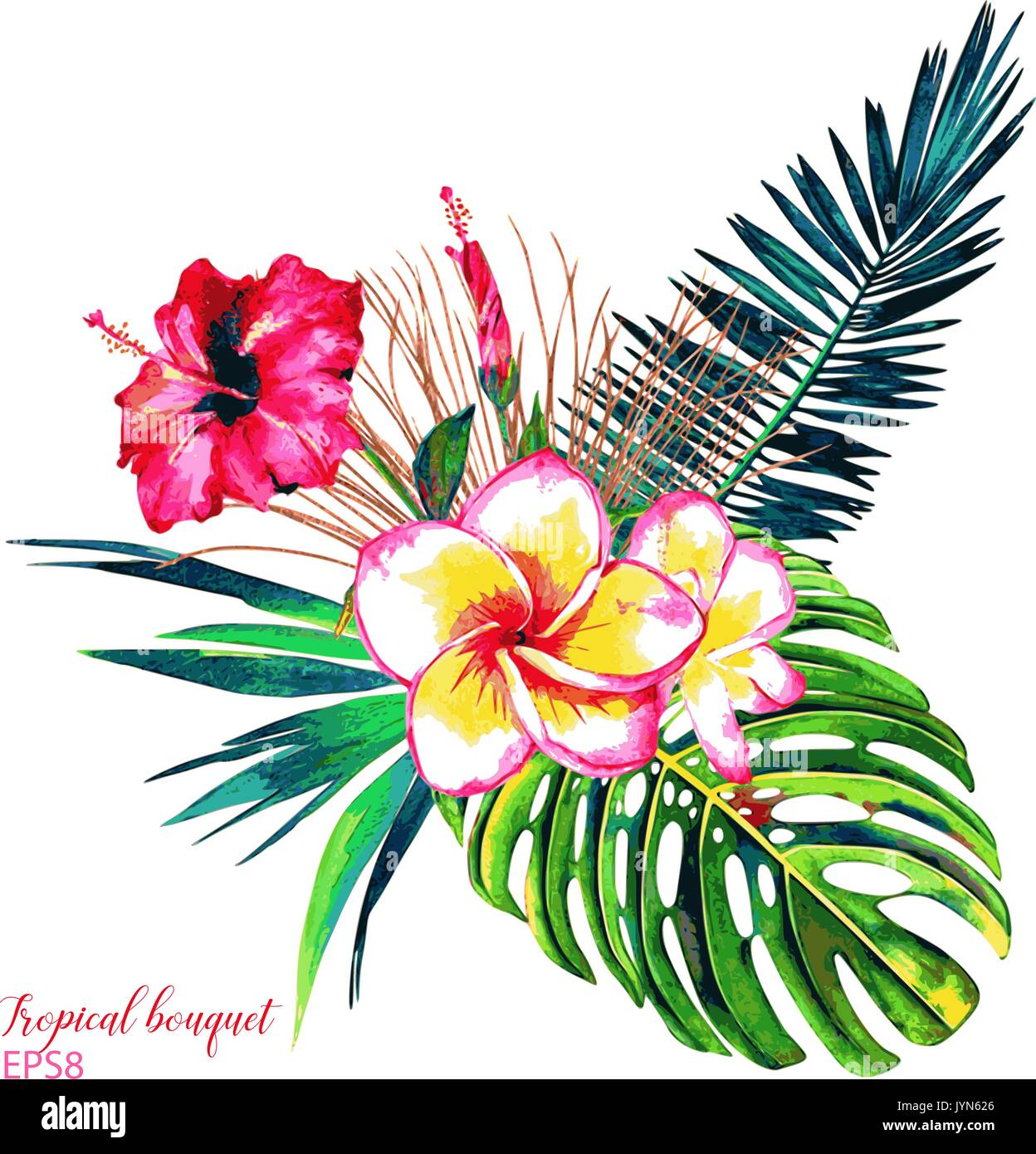 Tropical bouquet. Exotic flowers of hibiscus and plumeria, rain ...