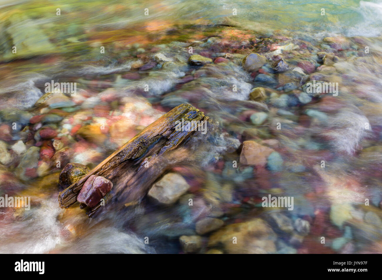 The crystal clear waters of Wilbur Creek rushes over colorful river rocks in Glacier National Park, Montana - Stock Image