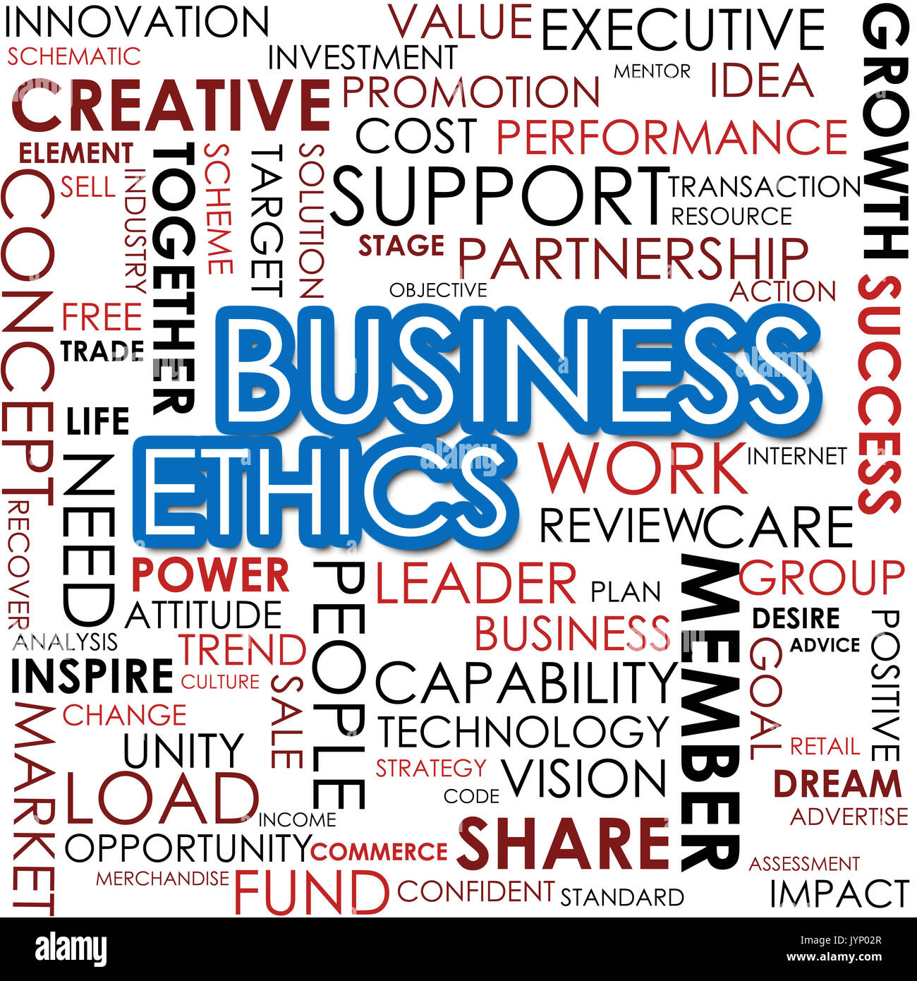 Business ethics word cloud cloud image with hi-res rendered artwork that could be used for any graphic design. - Stock Image