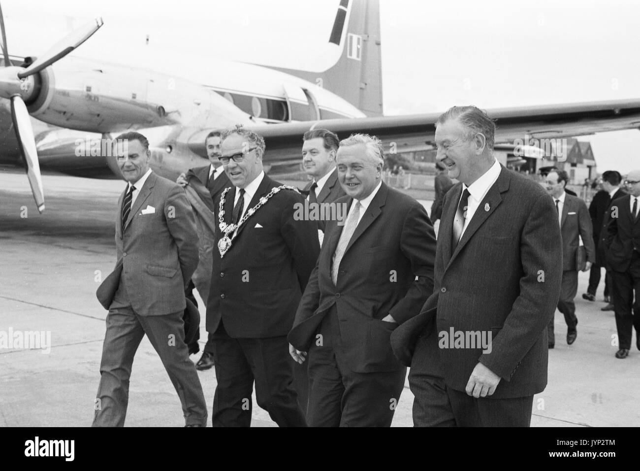 British Prime Minister Harold Wilson arriving at the Trades Union Congress in Blackpool, 1966. - Stock Image