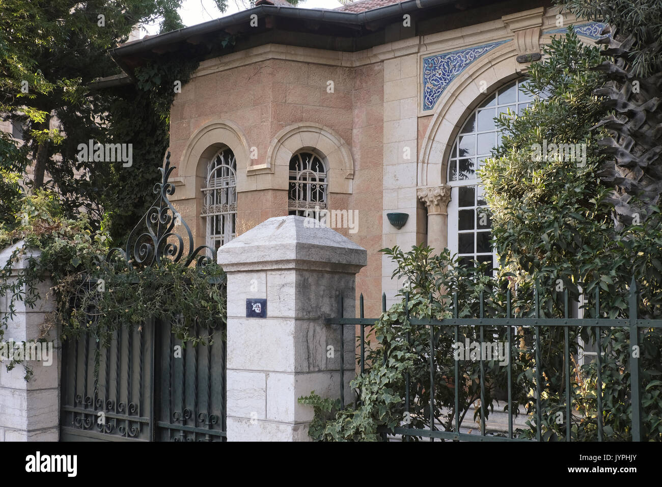 Facade of the former Arab villa of Dajani family located in 24 Hatzfira street in Katamon or Qatamon neighborhood established in the early 20th century and was populated by wealthy Christian Arabs who fled during the 1948 Israel War of Independence. West Jerusalem Israel - Stock Image